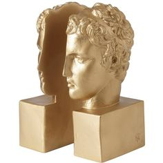 SOPHIA-ENJOY THINKING - Bookend Marathon Boy Gold ($178) ❤ liked on Polyvore featuring home, home decor, small item storage, gold home accessories, gold home decor, gold bookends, book ends and greek home decor