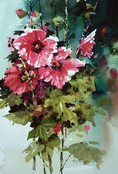 Carl Purcell #WATERCOLOR #hollyhocks #flowers