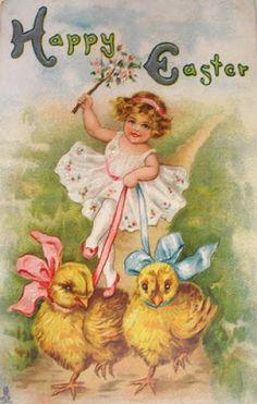 Silhouettes: Vintage Easter Cards/ Cartes Anciennes de Paques