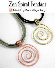 Wire Spiral Pendant - tutorial by Rena Klingenberg.  Zen Spiral Pendant  - featured on Jewelry Making Journal