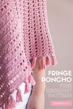 The Ava fringe poncho is the perfect topper to any outfit year round. The free crochet pattern has an easier-than-ever two rectangle construction - which means even a beginner crocheter can make it! Poncho Crochet, Crochet Throw Pattern, Crochet Fringe, Easy Crochet Patterns, Crochet Hooks, Free Crochet, Crochet Top, Poncho Patterns, Crochet Vests