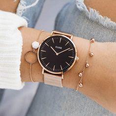 "La Bohème Mesh Rose Gold/Black ""I'm so bored! Fancy Watches, Trendy Watches, Cute Watches, Elegant Watches, Beautiful Watches, Cheap Watches, Rose Gold Watches, Luxury Watches, Vintage Watches"