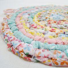 handmade rag rug-style potholder from Cornflower Creations on Etsy