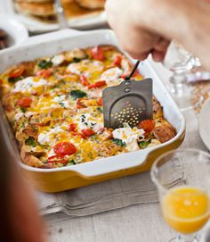 Tomato-Cheddar Strata with Broccoli-You can assemble this egg casserole — loaded with French bread, tomatoes, and broccoli, and topped with both Cheddar and ricotta cheeses — the night before, so you can enjoy yourself on Easter morning.