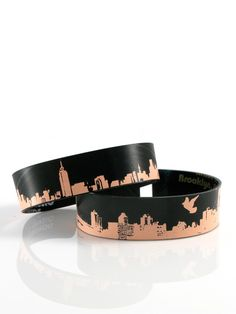 Cityscape Band Bracelet....made of a vinyl record.
