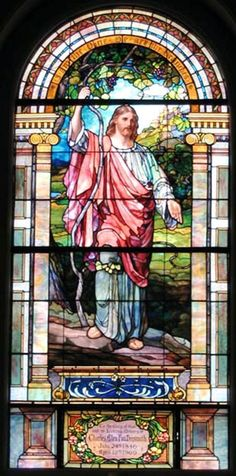 Joseph Lauber | I am the Vine, 1909 | Leaded glass | Evangelical Lutheran Church of the Holy Trinity, Lancaster, PA (Window post-dates Lauber's employment with Tiffany)
