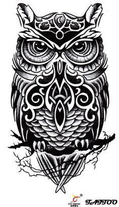 bcaefa27a Temporary tattoos large black owl arm fake transfer tattoo stickers hot  sexy men women spray waterproof