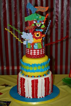 Circus Carnival theme cake topper or party centerpiece   original piece by kharygoarts.  http://www.facebook.com/kharygoarts.shop