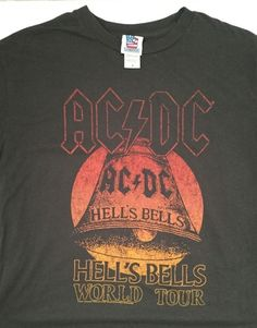 5399dfd0829 Junk Food ACDC Hells Bells World Tour S T-shirt Washed Black Gray NEW