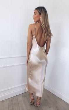 51b4b0ea4294f Keisha Slip Midi Dress - Gold by Pretty Lavish Gold Slip Dress, Slip  Wedding Dress
