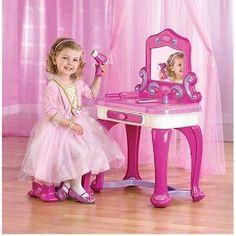 Kids,Toddlers Small Vanity Set w Stool n Mirror n Jewelry Storage