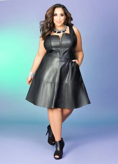 Plus size skater dress leather
