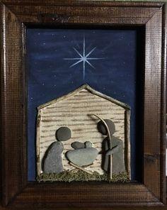 Nativity pebble art