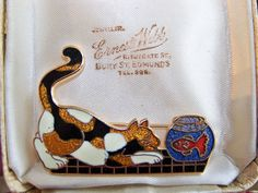 VINTAGE SIGNED JEWELERY CLOISONNE ENAMEL TABBY CAT & GOLDFISH IN BOWL BROOCH PIN £82.00 (44B) +2.55PP