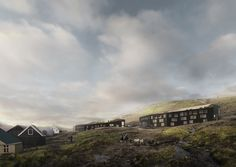"""Designed by White Arkitekter. White Arkitekter has won the Nordic Built Cities competition in the category of Vertical Challenge for the office's proposal, """"The Eyes of Runavik,""""..."""