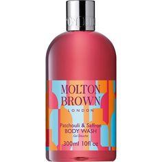 Molton Brown Patchouli & Saffron Body Wash ($21) ❤ liked on Polyvore featuring beauty products, bath & body products, body cleansers, colorless e molton brown
