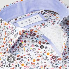 Multi-Coloured Sports Objects on White Sports Shirt Sports Shirts, Casual Shirts, Sharp Prints, Menswear, Dress Shirts, Long Sleeve, Fitness, How To Wear, Objects