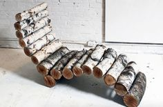 HomeMade Modern DIY Log Lounger: 8 Steps (with Pictures) Homemade Modern, Fairy Garden Furniture, Diy Outdoor Furniture, Furniture Ideas, Log Furniture, Backyard Furniture, Homemade Furniture, Western Furniture, Furniture Design