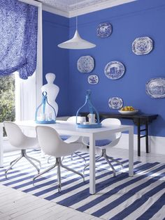 modern blue and white dining room