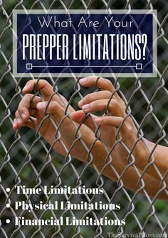What is stopping your from prepping? Lack of time or money? Prepper limitations can be overcome and I& explain how! Urban Survival, Survival Food, Homestead Survival, Wilderness Survival, Camping Survival, Survival Prepping, Survival Skills, Prepper Food, Survival Stuff