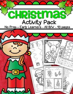Just print and that's it! 93 pages of no prep hands-on printable Christmas activities for preschool, pre-K and early Kindergarten children. Appropriate for pre-readers and writers. Click on the page title in the contents to go right to the activity. All in b/w.