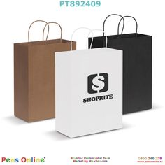 Large-sized paper carry bag: The natural and black coloured paper bags are made from recycled paper. Branded with your logo by PensOnline in NZ Paper Paper, Paper Crafts, Free Artwork, Carry Bag, Colored Paper, Large Bags, One Color, Paper Shopping Bag
