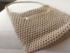 Brown, Crochet/Knit, Lina, Shoulder Bag, Small #LINA #ShoulderBag