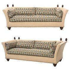 Funky // Pair of Custom Knole Style Hollywood Regency Sofas by Vanguard Luxury Furniture, Antique Furniture, Furniture Design, Knole Sofa, Ad Art, Brushed Metal, Hollywood Regency, Modern Sofa, Chair Design