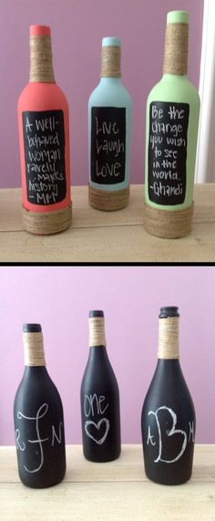 Painted and decorated chalkboard wine bottles #decoratedwinebottle