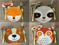 the plates are from walmart. i'm going tomorrow.  Fall Party for Kids with Woodland Creature Mask Tutorial :: Available on HoosierHomemade.com