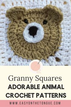 Adorable Animal Granny Squares to Crochet. Crochet a baby blanket with one of the animal granny squares for the most adorable and interesting baby shower gifts. If you have can crochet a granny, these animal squares will be super easy! Granny Square Crochet Pattern, Crochet Squares, Easy Crochet Patterns, Crochet Motif, Knitting Patterns, Crochet Toys, Granny Square Tutorial, Crochet Cushions, Crochet Blocks