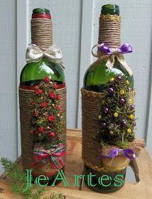 A JeArtes vem aprimorando seus trabalhos, e estes trabalhos com garrafas decoradas, além de ser uma reciclagem de material é uma bela decora...