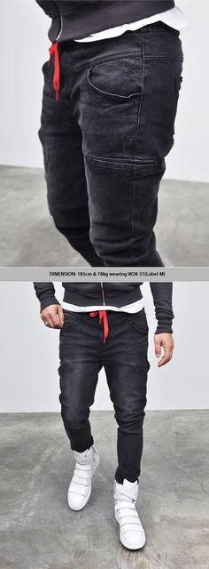 Drawcord Washed Black Denim Sweatpants - Jeans 91 by GuyLook
