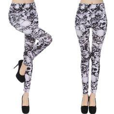 New Black And White Skull Leggings Fashion Slim Elastic Leggings Capris