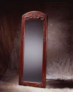 Art Deco Full Length Mirror, leather bonded, high-relief custom furniture