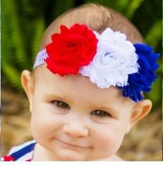 Headband Red White Blue Baby Photography Prop Outfit July 4th Independence Day Newborn Infant