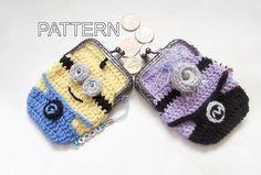Minion Coin Purse Crochet Pattern by WistfullyWoolen on Etsy Coin Purse Pattern, Crochet Coin Purse, Crochet Purse Patterns, Crochet Purses, Crochet Bags, Minion Crochet, Crochet Hoodie, Love Crochet, Crochet For Kids