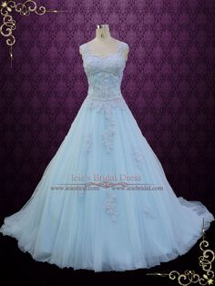 - Dress Info - Ordering at Ieie's - Custom Designs Beautiful powder blue ball gown wedding dress with cap sleeves and lace embroideries. Great as a magical wedding dress or for any special occasions.