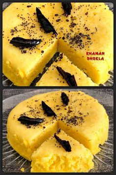 Khaman Dhokla is a vegetarian snack originates from the State of Gujarat, India. It is made with a fermented batter derived from soaked and freshly ground channa dal or channa flour (also called gram flour or besan). Vegetarian Snacks, Vegetarian Breakfast, Khaman Dhokla, Gram Flour, Indian Snacks, Vegan Recipes, Good Food, Tasty, Homemade
