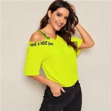 ROMWE Neon Green Lime Cut Out Shoulder Slogan Print Tee Tops Women Summer Asymmetrical Neck Half Sleeve Casual T Shirts - green-neon-bright,xs Spandex Fabric, Casual T Shirts, Printed Tees, Neon Green, Half Sleeves, Sleeve Styles, V Neck T Shirt, T Shirts For Women, Shoulder