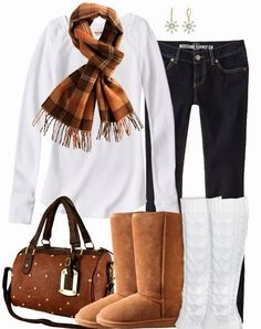 Stylish scarf, white blouse, jeans, handbag and warm boots with socks for fall