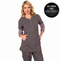"""Longer top from Koi in Steel, 26"""" length (size S) 55% cotton/45% polyester soft twill top, Two functioning snap buttons and deep pockets XS-3X  £27.50 #dental #uniforms #nurse #female #scrubs #tunics #top #healthcare #koi #Justine #happythreads"""