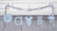 Baby doccia decorazioni blu e grigio è un banner di ParkersPrints