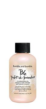 bumble and bumble, pret a powder-equal parts dry shampoo, style extender and volume in a pinch.