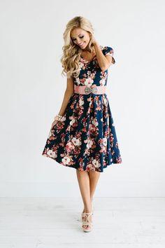 Navy blue printed Dress - women fashion