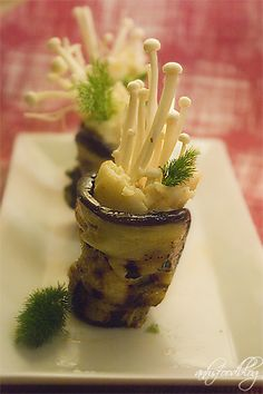 Vegan Grilled Eggplant Roll with Spiced Potatoes & Enoki Mushrooms Appetizer