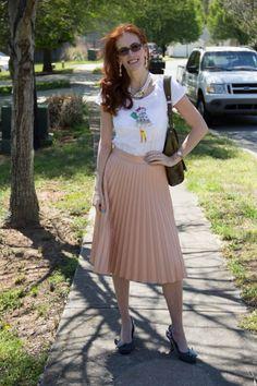 Zara midi skirt, cute graphic t. by LOFT. I am a huge fan of Zara.