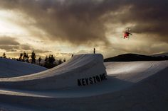 Simon Dumont throws down in the A51 park at Keystone Resort. Photo by Nate Abbott.