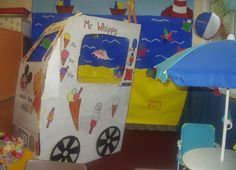 Ice-cream van and seaside role-play area classroom display photo - Photo gallery - SparkleBox School Displays, Classroom Displays, Play Corner, Role Play Areas, Seaside Theme, Ice Cream Van, Small World Play, Sea Crafts, Play Centre