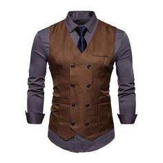 668c2a31ec5 Fashion Double Breasted cotton Suit Vest Men 2018 Spring New Sleeveless  Vest Waistcoat Mens Slim Fit Wedding Business Vests